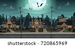 houses decorated for halloween... | Shutterstock .eps vector #720865969