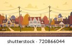 houses suburb of big city in... | Shutterstock .eps vector #720866044