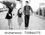 family of mimes holding hands... | Shutterstock . vector #720866275