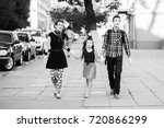 family of mimes holding hands... | Shutterstock . vector #720866299