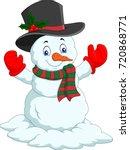 cartoon happy snowman isolated... | Shutterstock .eps vector #720868771