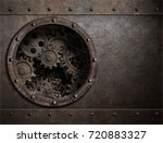 metal background with porthole... | Shutterstock . vector #720883327