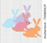 vector set with pixel rabbits. | Shutterstock .eps vector #720885619
