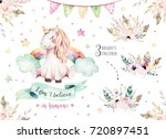 isolated cute watercolor... | Shutterstock . vector #720897451