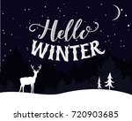 hello winter vintage postcard... | Shutterstock .eps vector #720903685