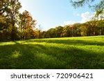 green field and yellow autumn... | Shutterstock . vector #720906421