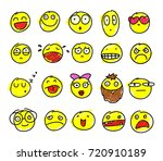 set of colors hand drawn smiles ... | Shutterstock .eps vector #720910189