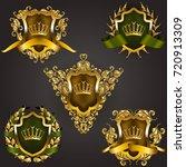 set of golden royal shields... | Shutterstock .eps vector #720913309