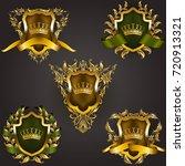 set of golden royal shields...