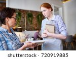 displeased client of cafe... | Shutterstock . vector #720919885