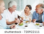 cheerful senior friends having... | Shutterstock . vector #720922111