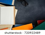 book glasses and pencil on the... | Shutterstock . vector #720922489