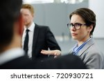 skeptical businesswoman in... | Shutterstock . vector #720930721