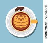 top view of chocolate latte art.... | Shutterstock .eps vector #720930841