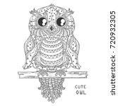 owl. zen art. design zentangle. ... | Shutterstock . vector #720932305
