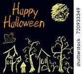 halloween black dark background ... | Shutterstock .eps vector #720933349
