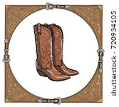 cowboy boots in the western... | Shutterstock .eps vector #720934105