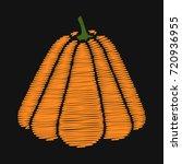 pumpkin. embroidery on dark... | Shutterstock .eps vector #720936955