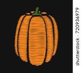 pumpkin. embroidery on dark... | Shutterstock .eps vector #720936979