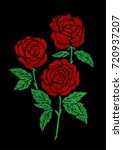 red rose bouquet embroidery... | Shutterstock .eps vector #720937207