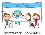 cartoon doctors organizing free ... | Shutterstock .eps vector #720938341