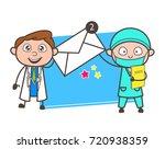 two cartoon doctors showing... | Shutterstock .eps vector #720938359