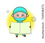 cartoon surgeon showing a blank ... | Shutterstock .eps vector #720938371