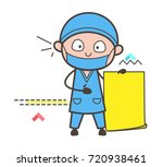cartoon surgeon showing a paper ... | Shutterstock .eps vector #720938461