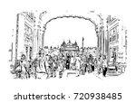 sketch of golden temple... | Shutterstock .eps vector #720938485