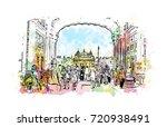 watercolor sketch of golden... | Shutterstock .eps vector #720938491