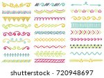 hand drawn set of doodle border ... | Shutterstock .eps vector #720948697