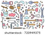 set of hand drawn doodle... | Shutterstock .eps vector #720949375