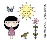 clip art set girl in summer... | Shutterstock .eps vector #720952195