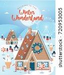 winter wonderland christmas... | Shutterstock .eps vector #720953005