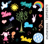 colorful hand drawn symbols of...   Shutterstock .eps vector #720953575