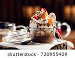 chocolate smoothie topped with... | Shutterstock . vector #720955429