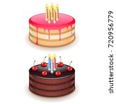 birthday cake with candles... | Shutterstock .eps vector #720956779