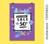 vector autumn sale poster... | Shutterstock .eps vector #720958321