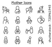 mother icon set in thin line... | Shutterstock .eps vector #720961945