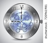 metal mechanical clock with...   Shutterstock .eps vector #720961981