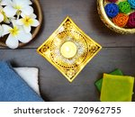 top view of golden lacquer ware ... | Shutterstock . vector #720962755