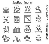 justice   law  court icon set... | Shutterstock .eps vector #720963979