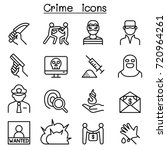 crime icon set in thin line... | Shutterstock .eps vector #720964261