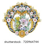 small royal vignette with... | Shutterstock . vector #720964744
