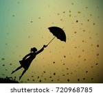 young girl flying away with an... | Shutterstock .eps vector #720968785