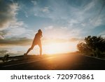 the man with runner on the... | Shutterstock . vector #720970861