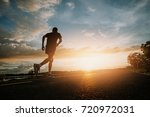 the man with runner on the... | Shutterstock . vector #720972031