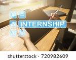 internship text on virtual... | Shutterstock . vector #720982609