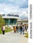Small photo of MOSCOW, RUSSIA - SEPTEMBER 16, 2017: Park Zaryadye, central modern park near Red Square, Moscow, Russia. Project of an architectural bureau DILLER SCOFIDIO + RENFRO