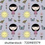 seamless pattern cartoon girl... | Shutterstock .eps vector #720985579